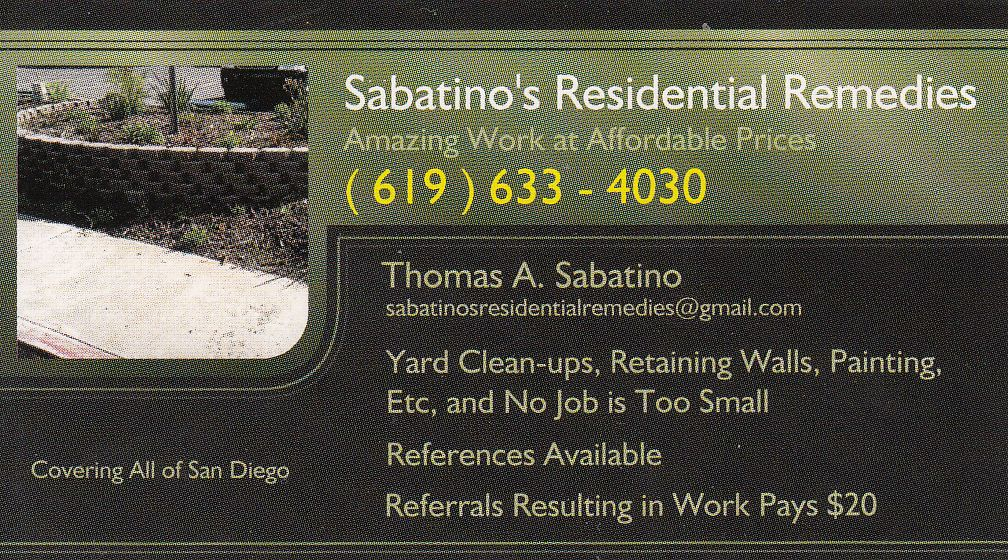 Sabatino's Residential Remedies, yard clean-ups, painting